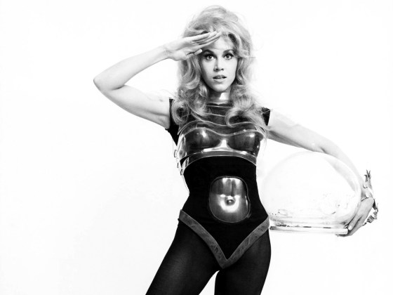 Barbarella wore costume that reflected the 1960's Space-age aesthetic.