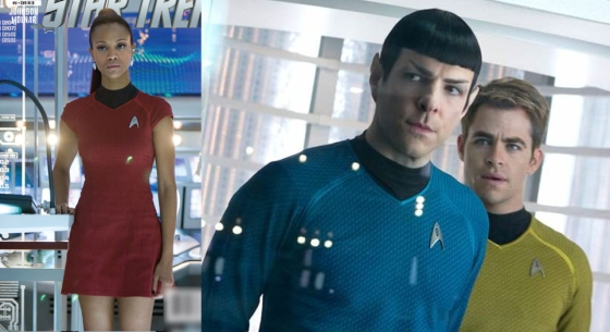 Star Trek: Into Darkness uniforms. Uhura's uniform retains the 1960s silhouette.