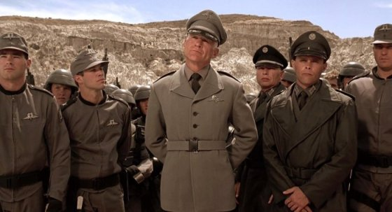Nazi-inspired military uniforms in Starship Troopers.
