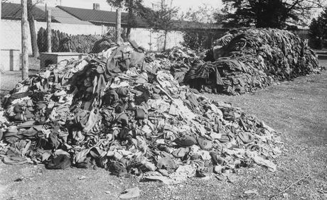 A pile of abandoned shoes at Dauchau is a reminder of the many lives lost in Nazi concentration camps.