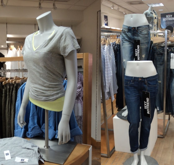 Mannequins in GAP are dismembered, with body parts spread across the store.