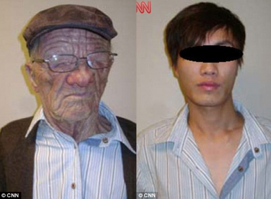 This unnamed passenger illegally boarded a plane from Hong Kong to Vancouver wearing a prosthetic mask. In mask (left) the man assumed the identity of a 55 year-old American.