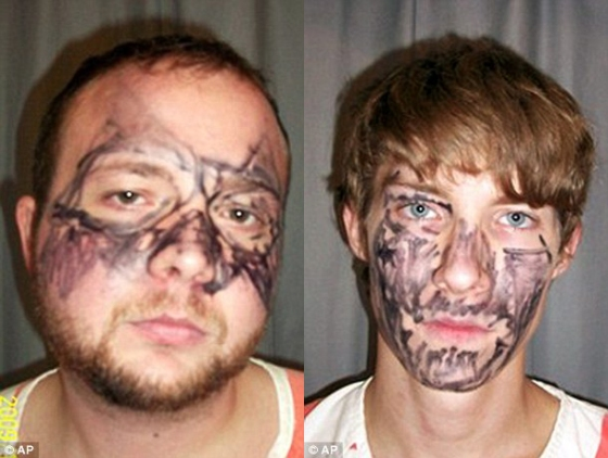 Failed Iowa burglars, Matthew Nelly and Joey Miller, were caught attempting to break into a flat wearing facial camouflage of permanent marker. In principle, their plans to conceal their faces might have worked, but in practice this technique neither distorts nor conceals the features, and hence the identity, of the men.
