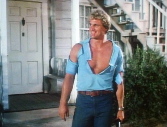 As if his skintight superhero costume wasn't enough to please flesh-hungry audiences, Captain America 2: Death Too Soon (1979) depicts Steve Rogers with a ripped shirt.