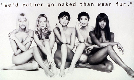 PETA's anti-fur campaign has featured nudity since 1994, proposing nudity as an passive resistance against the unethical practices of the fashion industry.