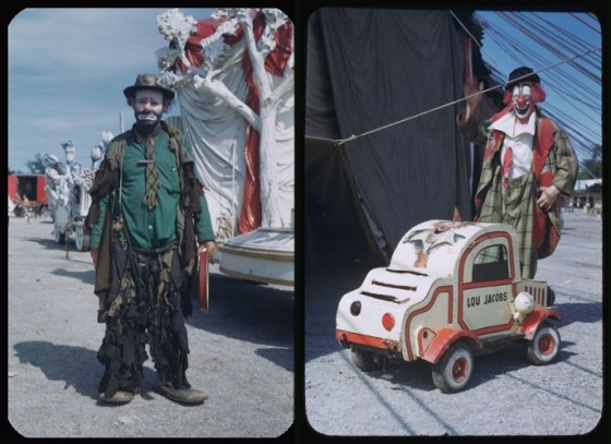 Re-coloured 1940s images from the Barnum and Bailey Circus depict clowns with a 'hobo' look.