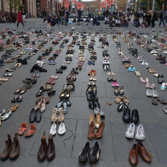Fourteen hundred pairs of shoes, representing the average number of people killed on Australian roads each year, fill Martin Place in Sydney on May 25, 2012. The shoes were laid out for the Australian Road Safety Foundation's Fatality Free Friday campaign.
