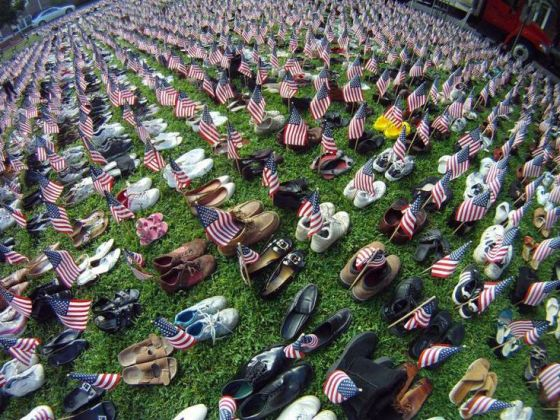 The Ocean Grove 9/11 memorial - 2,974 pairs of shoes representing all of the lives lost on Sept. 11, 2001