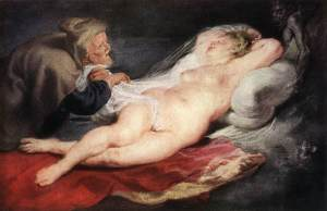 Peter Paul Rubens, The Hermit and the Sleeping Angelica, 1626-28. The so-called 'Rubenesque' figure is often depicted motionless.