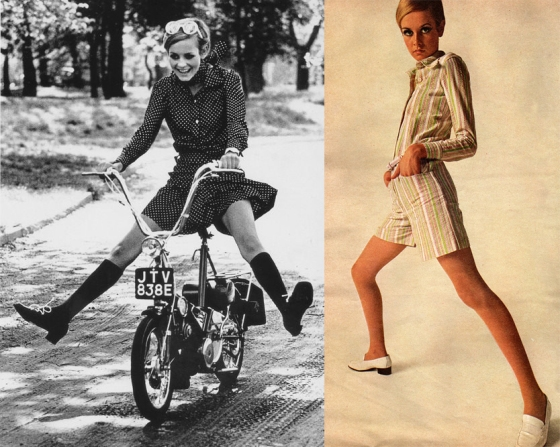 Despite Twiggy's minute size, in these images her body extends as far as the frame of the photograph.