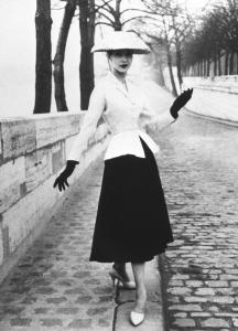 Christian Dior's New Look was modeled by women with impossible narrow waists, who compensated for their narrow silhouette by posing with limbs outstretched.
