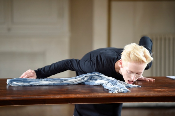 Tilda Swinton interacts with other people's clothes in her art performance, 'Cloakroom', one of three collaborations with Olivier Saillard.