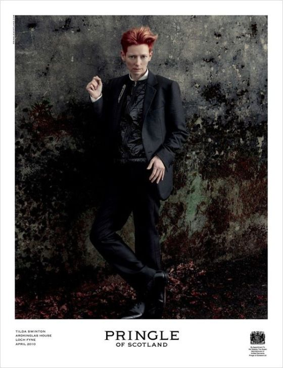 Tilda Swinton for Pringle of Scotland (menswear)