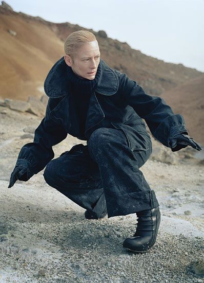 Tilda Swinton wears Hussein Chalayan (she also appeared in a short-film made by Chalayan, entitled Absent Presence).