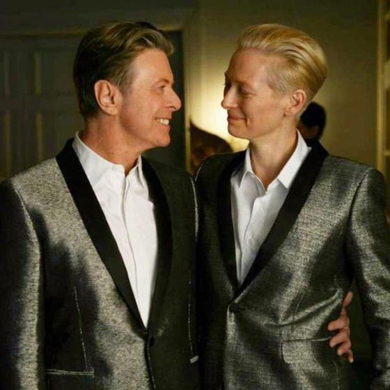 Tilda Swinton and David Bowie, who co-stared in Bowie's video for 'The Stars (Are Out Tonight)'.